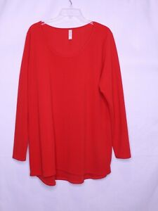 LULAROE SIMPLY COMFORTABLE SOLID RED ROUND NECK LONG SLEEVE TOP SZ 3XL #N183