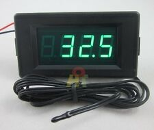 Green LED DC12V Digital Thermometer -60~125C High Low Temperature Alarm +Probe