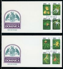 Dominica Scott #1186-1193 FIRST DAY COVERS (2) Orchids Flowers FLORA $$