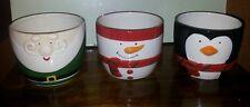 Set of 3 Festive ceramic Father Christmas plant pot covers planter bowls snowman