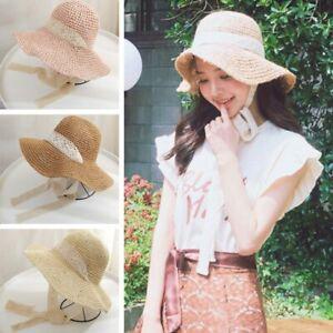 Women Wide Brim Hat  Beach Floppy Straw Sun Panama Cap Uv Protection Summer Caps