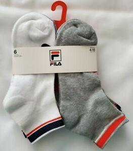 Fila Men's 6 Pack Logo Quarter Socks Gray/White