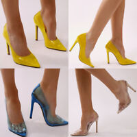10CM Pointed Toe Transparent Clear Slip On Stiletto Lucite High Heel Pumps Shoe