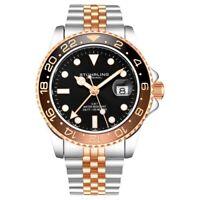 Stuhrling 3968 4 Aquadiver Swiss Quartz GMT Date Stainless Steel Mens Watch