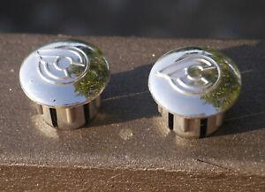 NOS Cinelli, coppia tappi terminali per nastro manubrio, colore silver, plastica