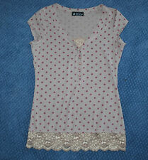 Junior's Self Esteem blouse with lace & pearl look beeds (L)