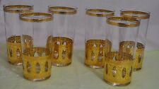 6 Culver Gold Antigua Highball Cocktail Barware Glass Tumblers ~ Vtg Mid Century