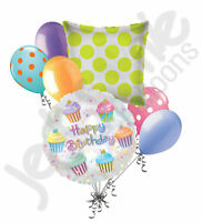 7 pc Frosted Colorful Cupcake Happy Birthday Balloon Bouquet Party Decoration