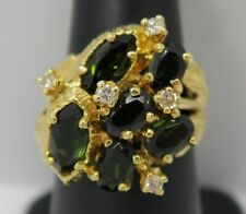 18K Yellow Gold ~ Green Tourmaline & Diamond Large Flower Cluster Ring w/ Leaves