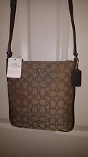 COACH Outline Signature Canvas F58421 Khaki/Brown Top Zip MD X-body Bag $175 NWT