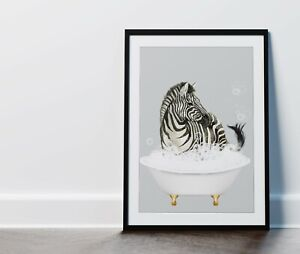 Zebra in Bath Black White Grey Bathroom Picture Wall Art Print Framed or Print