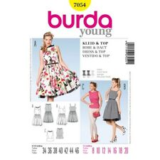 Burda Sewing Pattern 7054 Misses 8-20 Dress Pleated Skirt Fitted Top Retro Style