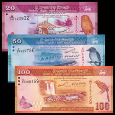 Sri Lanka Set 3 PCS, 20 50 100 Rupees,UNC