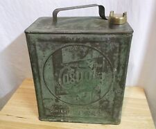 Early CASTROL OIL CAN Embossed with BRASS CAP 2 gallon Original Paint gas sign