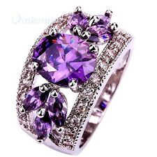 Size 10 Saucy Amethyst Hollow Purple Crystal Statement Silver Ring Charm