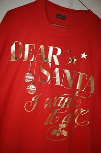 Dear Santa Claus Funny Christmas Holiday Red XL T-Shirt USA VTG 80s 90s AS-IS