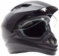 Dual Sport Motorcycle Motocross MX ATV Dirt Bike Full Face Helmet Matte Black