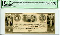 $50 Susquehanna Bank Port Deposit MD PCGS New 62PPQ W-MD-1150-050-G100