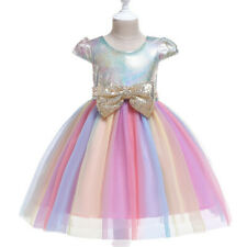 Girl Sequin Princess Bridesmaid Pageant Gown Birthday Party Wedding Tutu Dress f