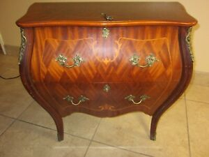 Vintage French Louis XVI Bombay Chest Made in Italy Inlay Ormolu Locking