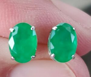 Emerald Oval Cut Stud Earrings 14kt Solid White Gold