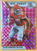 Clyde Edwards-Helaire NFL Debut Pink Camo Prizm Rookie 266 Mosaic 2020