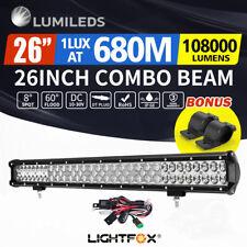 LightFox 26inch LED Light Bar Spot Flood Driving w/ Bullbar Mounting Bracket