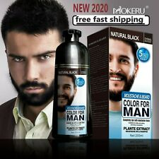 Black Beard Permanent Hair Dye Shampoo Natural  200ml Beard Dye Men Cover Gray