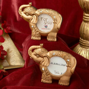 20-100 Good Luck Indian Elephant Gold Picture Frame - Wedding Party Favors