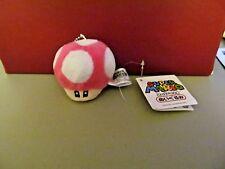 "Mario Bros. Rose Mushroom Plush Keychain  2"" Inches  (NEW)"