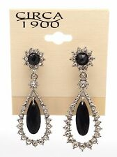 CIRCA 1900 JEWELRY Silvertone Tear Drop Black & Clear Crystals Dangle Earrings