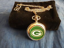 GREEN BAY PACKERS NFL AMERICAN FOOTBALL CHROME POCKET WATCH WITH CHAIN (NEW)