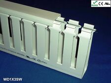 """18 New 1""""x3""""x2m Wide Finger Open Slot Wiring Duct/Cable Raceway with Cover,White"""