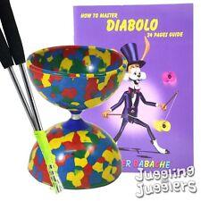 Rainbow Jester Diabolo + métal aluminium handsticks + Livre Diabolo + string