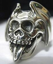 LOOK Skeleton Sterling silver skull tongue wings ring Gothic