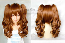 New Fashion Long Brown Curly Cosplay Wig With Two Clip On Ponytails 60cm m/65