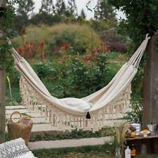 Out/Indoor Hanging Hammock Swings Brazilian Macrame Fringe Deluxe Hammock Chair