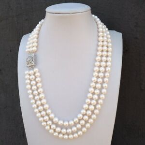 """triple strands natural south sea white Pearl Necklace 18 """" 19 """"20"""""""