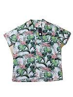 Levi Men San Francisco Flamingo Leaf Print Button Up  Short Sleeve Shirt Size XL