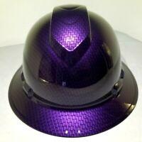Hard Hat FULL BRIM custom hydro dipped , OSHA  MOPAR PLUM CRAZY CARBON FIBER