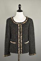 St. John Women's Black Tweed Chiffon Fringe Trim Full Zip Blazer Jacket Size 8