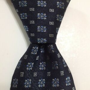 TURNBULL & ASSER Exclusive Linen/Silk Necktie ENGLAND Luxury Blue/Gray NEW $195