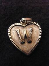 Colgante Corazón Medallón en PLATA Chapado Letra W 2 cm
