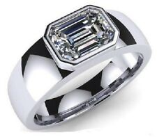 1.90CT Solitaire Emerald Cut White Diamond Men's Engagement Ring 925 Silver Gift