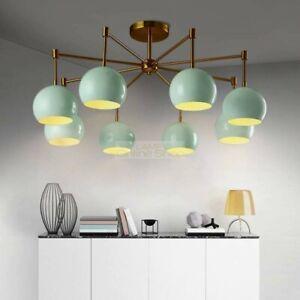 Modern Simple Living Room Ceiling Light Chandeliers Mid Century Brass Orbs Light