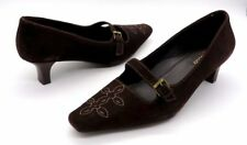ECCO Size 41 Brown Suede Embroidered Mary Jane Kitten Heels