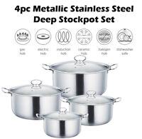 4pc Metallic Stainless Steel Stockpot Set Deep Casserole Cookware Lid Pot Pan