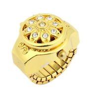 Runde Zifferblatt Kristall Blume Dekor Elastische Band Fingerring Uhr Gold Ton f