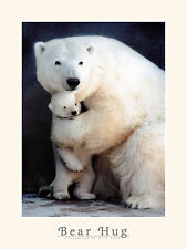 MOTHER'S DAY GIFT IDEAS - POLAR BEAR MOTHER AND BABY POSTER IN RED GIFT TUBE