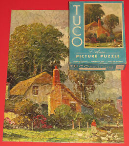 """VINTAGE TUCO DELUXE PICTURE PUZZLE JIGSAW """"TWILIGHT SHADOWS"""" COTTAGE GEESE -1"""